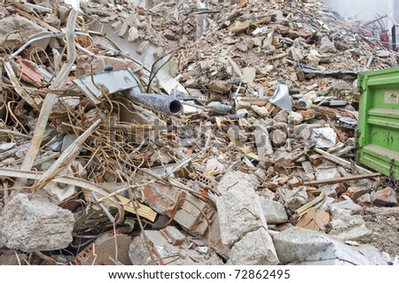 Remains from the demolition of an old block of flats. - stock photo