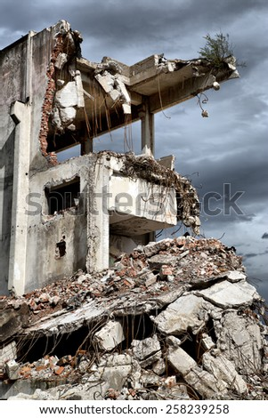 Remains From the Demolition of Old Derelict Buildings - stock photo
