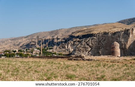 Remains of ancient bridge and buidlings in Hasankeyf, Turkey.