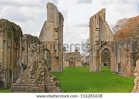 Remains of Glastonbury Abbey - stock photo