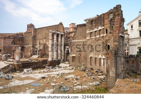 Remains of Imperial forums in Rome Italy