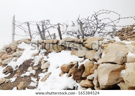 Remains of military activity from the first world war, Lagazuoi,Dolomites, Italy - stock photo
