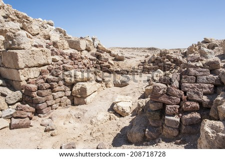 Remains of old abandoned roman fort ruins on Red Sea coastline
