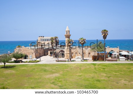 Remains of ottoman mosque called Bosnia in antique Caesarea. Israel. - stock photo