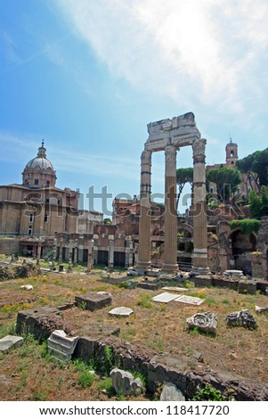 Remains of Roman Forum - stock photo