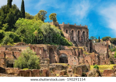 Remains of ruined Palatine Hills in Rome - stock photo