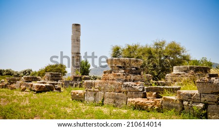 Remains of the ancient sanctuary of the goddess Hera located near town of Pythagoreion, Samos, Greece - stock photo
