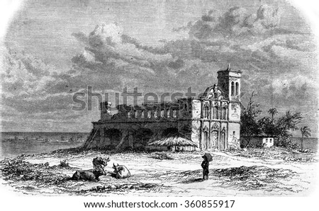 Remains of the Jesuit Church in St. Paul de Loanda, vintage engraved illustration. Magasin Pittoresque 1857.