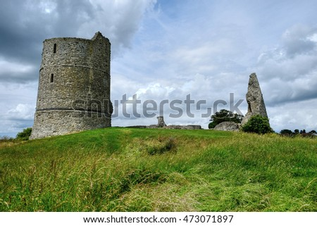 Remains of the 13th Century Hadleigh Castle  stands high on a ridge above the Thames Estuary,  Essex