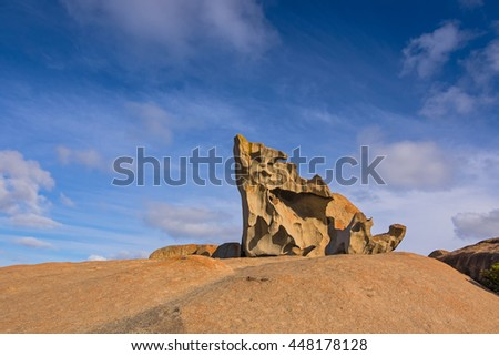 Remarkable Rocks, natural rock formation covered by golden orange lichen at Flinders Chase National Park. One of Kangaroo Island's iconic landmarks, South Australia - stock photo