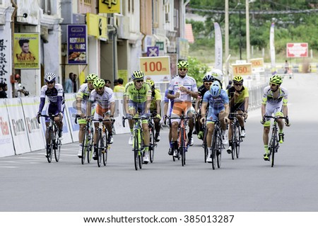 Rembau Feb 29 2016 A gorup of cyclist go to finishing line at Le tour de langkawi stage 6 in rembau malaysia