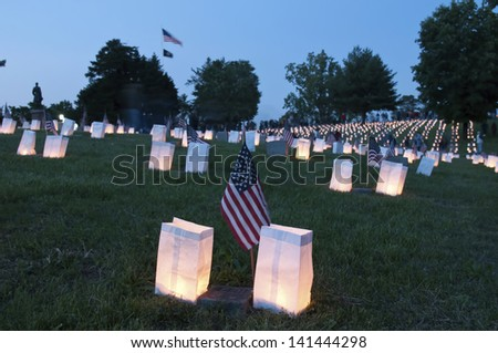 Remembering fallen soldiers - stock photo