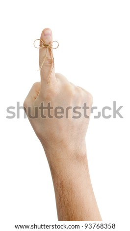 reminder concept with hand and knot isolated on white background - stock photo