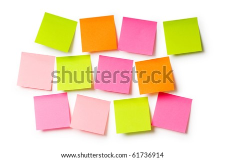 Reminder notes isolated on the white background - stock photo