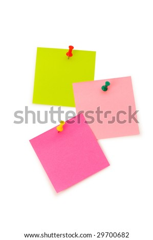 Reminder notes isolated on the white board