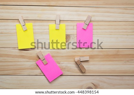 reminder sticky notes on wooden board, copy space - stock photo