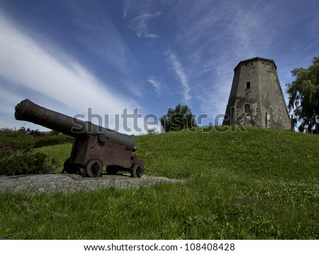 remnants of an old mill and a cannon in Sas van Gent in Netherlands - stock photo
