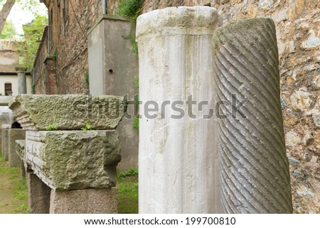 remnants of ancient columns next to the istanbul archaeological museum - stock photo