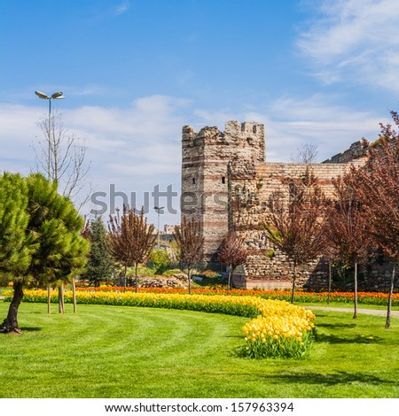 Remnants of the ancient walls of constantinople in present-day Istanbul, Turkey. - stock photo
