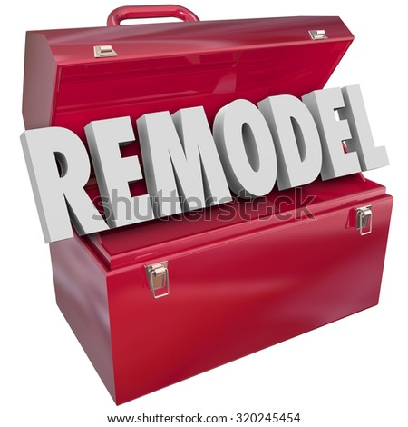 Remodel 3d word in a red metal toolbox to illustrate an improvement, construction, building or renovation project, task, job or work