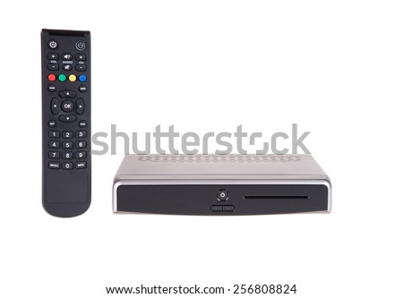 remote and receiver for satellite TV on white - stock photo
