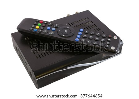 Remote and Receiver for Satellite TV (STB) on white top view - stock photo