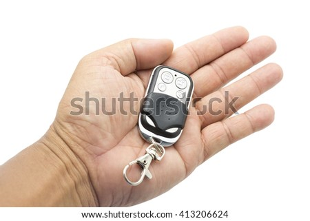 Remote car Black Clipping Path on white background