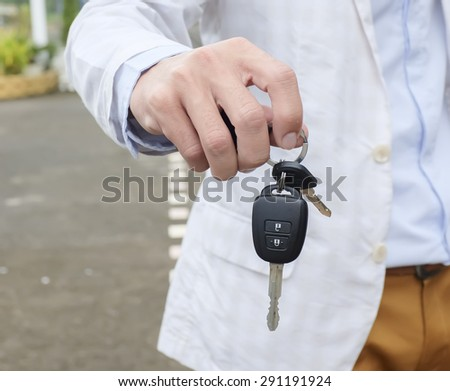 Remote control cars is used to open the car door - stock photo