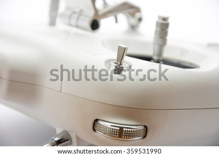 Remote control fro quadrocopters and drones. Isolated on white background. Close up.