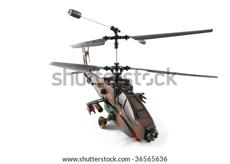 remote control helicopter on white background - stock photo