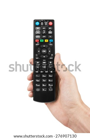 Remote control in hand, isolated on white background - stock photo