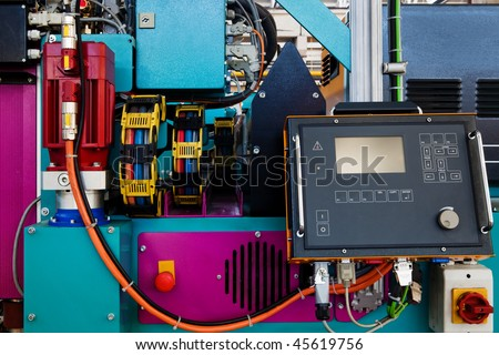 remote control of a new and modern metal-working machines - stock photo