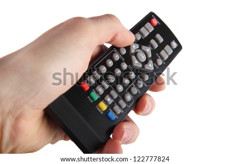 Remote control on white background - stock photo