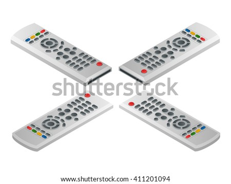 Remote control tv. Flat 3d isometric illustration - stock photo