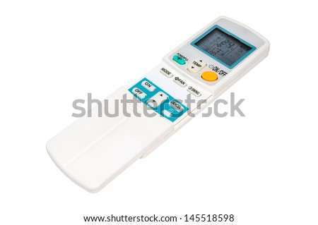 Remote control unit for air conditioning on the white background.