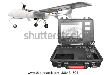 Remote Control With A War Drone UAV Aircraft Military Mission Isolated On White Background Clipping