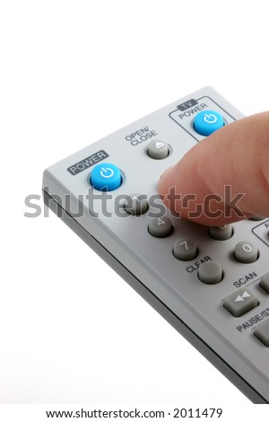 Remote control with finger changing channels, vertical presentation.