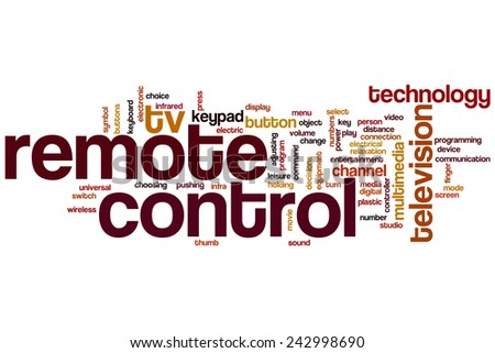 Remote control word cloud concept with tv button related tags - stock photo