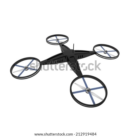 Remote Controlled Quadcopter Drone isolated on white - 3d illustration