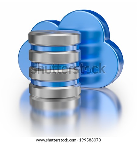 Remote database cloud computing technology storage concept - metal icon database icon and blue glossy cloud with reflection on white - stock photo