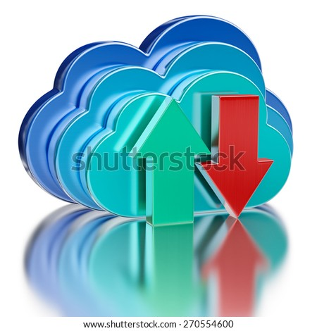 Remote database cloud computing technology storage upload download concept - 3 metal glossy cloud icons and download and upload arrows with reflection on white - stock photo