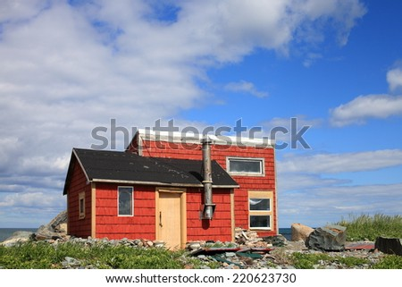 Remote fishing camp on the Atlantic coast of Canada - stock photo
