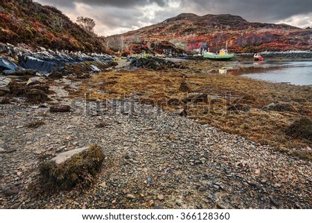 Remote natural landscape in Scotland - stock photo