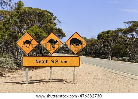 remote spot on Eyre highway in South Australia on a sunny hot summer day. Warning information sign on roadside informs about stray animals next 92km.