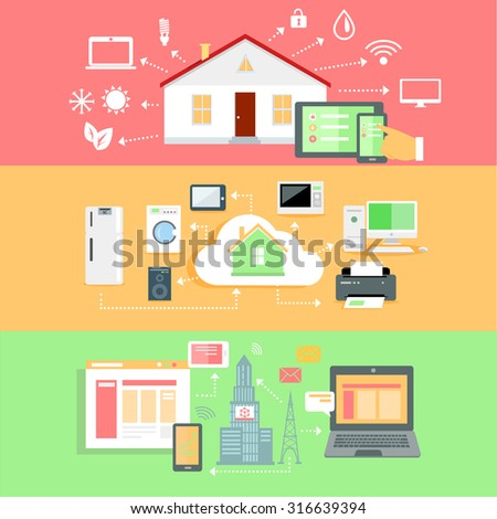 Remote wireless control of home appliances. Place technology concentration, household appliance, smart house, communication house system, automation interconnection, living service. Raster version - stock photo