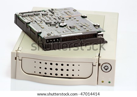 Removable hard disk chassis on white background
