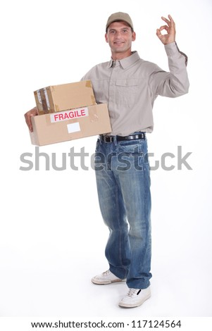 removal man holding boxes - stock photo