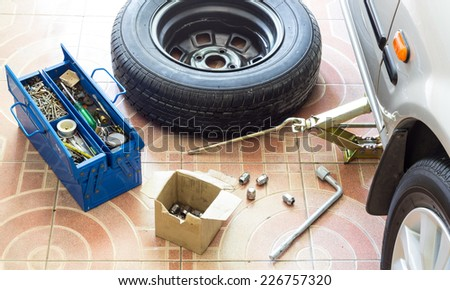 Remove, Install, replace Wheel tire nut for car & vehicle service concept - stock photo