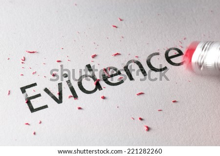 Removing word with pencil's eraser, Erasing Evidence - stock photo