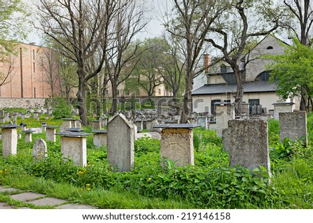 Remuh Cemetery in Kasimierz. The Jewish Old Town of Krakow, Poland. - stock photo